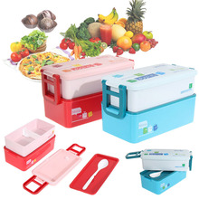 2 layer Bento Dishware Box for Kids Food Container Food Tableware 850ML Dinnerware Sets PP Bento Dinning Box(China)
