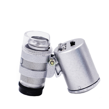 10pcs/lot 60X Handheld Mini LED Microscope Magnifier Loupe UV Light Jewelry Jeweler Currency Detector 30%off(China)