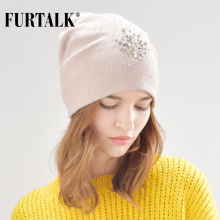 FURTALK warm cashmere wool winter hat for women double lining women knit beanie rabbit fur hats for girls B013(China)