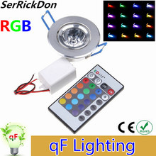 1pcs RGB Downlight 3W LED Ceiling Down Lights Recessed LED RGB Downlight with AC85-265V driver and 24Keys IR Remote