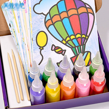 Newest Colored Sand Painting Drawing Toys Sand Art Kids Coloring DIY Crafts Learning Education Color Sand Art Painting Cards Set(China)