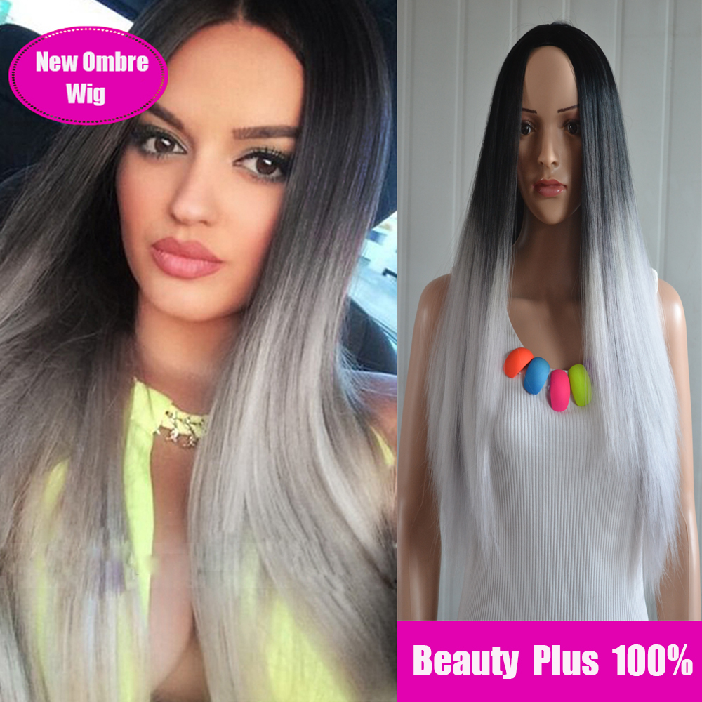 New Women Ladies Long Ombre Grey Wig straight Elegant Heat Resistance Synthetic Anime Cosplay Wigs Perucas ombre wig free gifts<br><br>Aliexpress