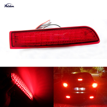 2Pcs Red Lens LED Rear Bumper Reflectors With Tail Brake Light Parking Warning Lamp For 2006 up Toyota Rav4 & 2008 up Scion xD
