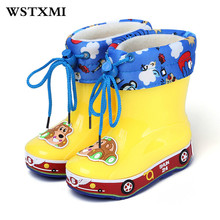 Children Rubber Waterproof Non slip Rain Ankle Boots Girls Boys Designer Kids Shoes Brand Winter Boots Detachable(Baby/Toddler)