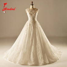 Buy Amdml Vintage Ivory A-Line Wedding Dresses 2017 China Bridal Gown Chapel Voile Train Real Photo Beaded Flowers Robe De Mariage for $215.79 in AliExpress store