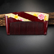 diaphanous handmade Boxwood combs Authentic hand-painted lacquer art wood combs hair style designer for ladies pocket combs(China)