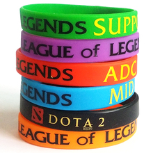 6pcs Mixed Color LOL League of Legend Wristband Silicon Bracelet with ADC, JUNGLE, MID, SUPPORT, Printed Band(China)