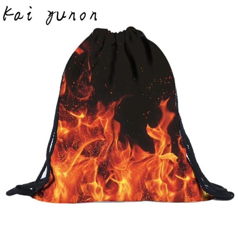 kai yunon Unisex Flame Backpacks 3D Printing Bags Drawstring Backpack Sep 8<br><br>Aliexpress