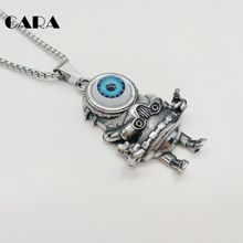 CARA New Big Blue eyeball Robot pendant necklace mens 316L stainless steel charm necklace jewelry fashion gift CARA0327(China)