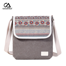 Canvasartisan brand new women shoulder bag canvas reteo messenger bag floral printing style female daily travel crossbody bags(China)