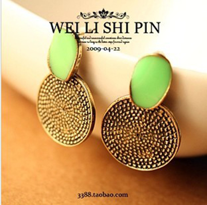 E84 fashion earrings green circle carved female vintage earrings women earrings free shipping (Min order $10 mixed order)(China)