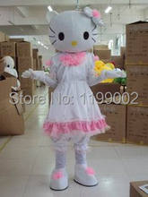 Hot sale adult white dress hello kitty mascot costume free shipping(China)