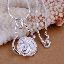 925 jewelry silver plated Jewelry Pendant Fine Fashion Cute  Rose Heart Necklace Pendants Top Quality CP123