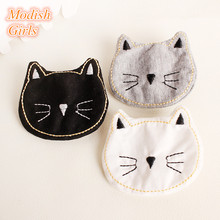 15pcs/lot Cat Head Design Cartoon Animal Shape Small Hair Clips Accessory Bestseller Soft Felt Cartoon Hairpins Lovely Kids(China)