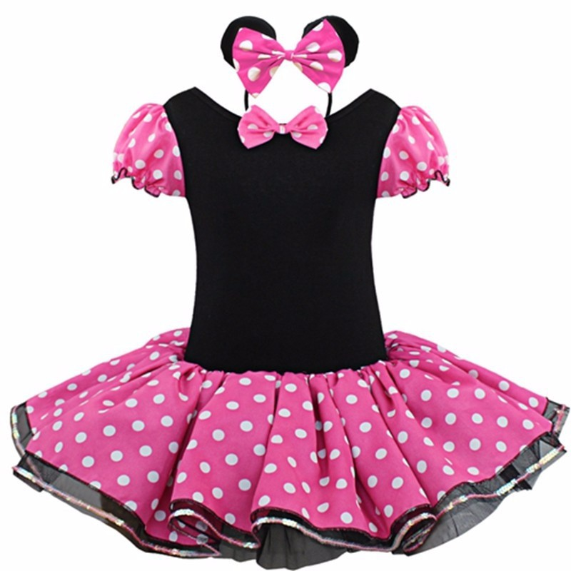2017 summer Kids Gifts Minnie Party Fancy Costume Cosplay Girls Ballet Tutu Dress+Ear Headband Girls Polka Dot Dress Clothes Bow(China (Mainland))