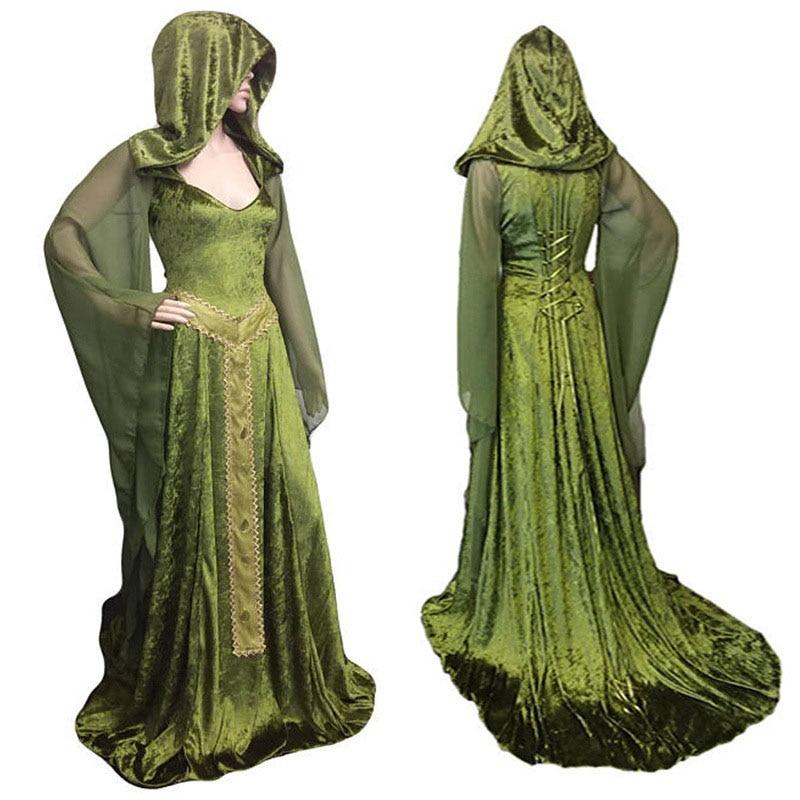 Medieval-Pagan-LARP-Cosplay-Wicca Fantasy Green Pagan Wedding Dress All Sizes