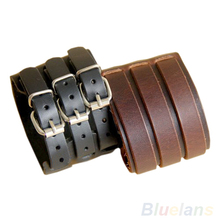 Punk Rock New 2 Layer Belt Men Genuine Cow Leather Bracelet 3 Buckle Wristband Cuff Bangle Hot Sale 02JO(China)