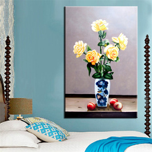 NO FRAME Home Printed APPLE WITH BLUE VASE FLOWER Oil Painting Canvas Prints Wall Art Pictures For Living Room Decorations(China)