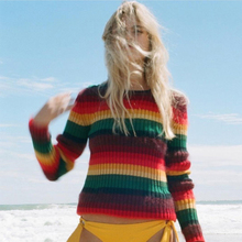 Ecombird 2017 Fall Winter new runway sweater High Quality women fashion Cute rainbow Stripe pullover female Knit Sweaters Femme