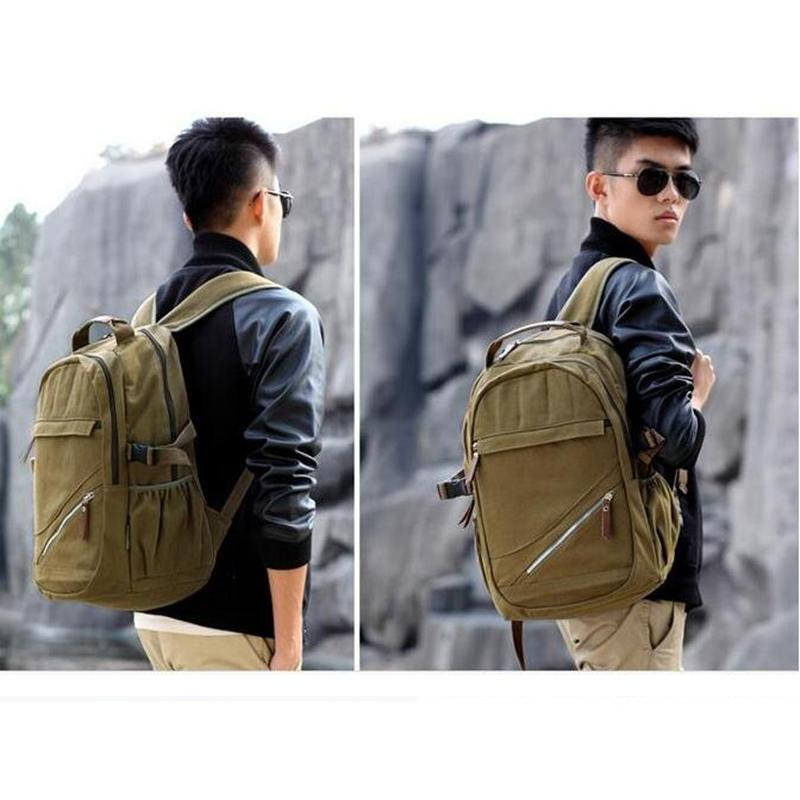 New Model Casual Canvas Men Backpack Retro Vintage Male Students School Bags Man Shoulder Bags Army Green Backpack on sale<br><br>Aliexpress