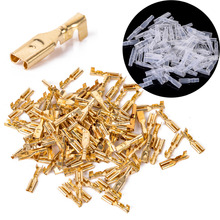 100pcs 2.8mm Female Spade Connectors Mayitr Brass Crimp Terminals with Insulating Sleeve 22-16AWG(China)