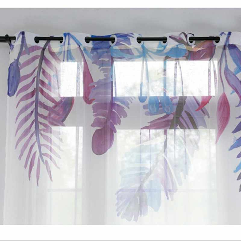 Europe Style Printed pattern purple Feather Curtain For Living Room Window Bedroom  Door Curtain Customize SW005#30