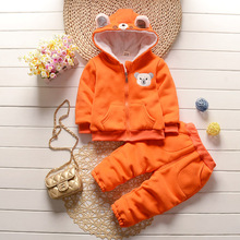 2017 2017 Autumn Winter New Boys Sets Bear Plush Coat Warm Thickening Warmth Cotton kidsclothe For 1~4 Years(China)