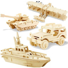 3 Sets/Lot 3D Jigsaw Wooden Puzzles DIY Toy Woodcraft Handmade Toy Learning Educational Assemble  Toys For Children Kids Adult