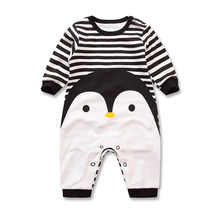 2017 Spring Autumn long sleeved cotton Romper baby clothes children's clothing cartoon Penguin baby animal girl jumpsuit Romper