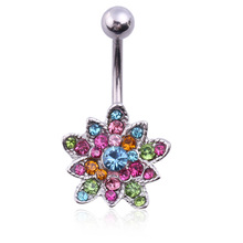 Artificial crystal  Twinkling Lotus Flower Pendant Woman Belly Button Ring Piercing Ombligo Art Colorful Body Jewelry Gift