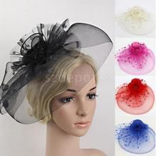 Elegant Floral Polka Dot Mesh Fascinator Hat on Clips Wedding Party Royal Asco Derby Race Women Bridal Hair Accessory