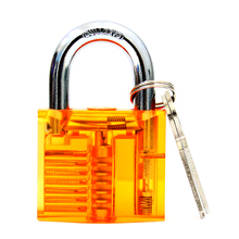 Free shipiing light yellow inside visible padlock with two keys locksmith practice lock pick tool BK149(China)
