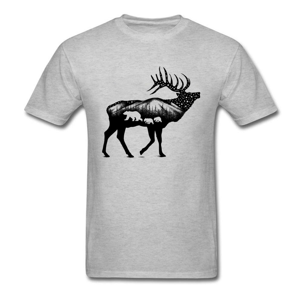 ELK 100% Coon Fabric Tshirts for Boys Short Sleeve Cool Tops T Shirt Graphic Summer O Neck T-Shirt Normal Wholesale ELK grey