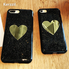Buy Bling Shining Glitter powder Case iphone6 Love Heart Phone cases iphone 6S 7 7 Plus Gold Mirror Soft Silicone Case Capa for $2.35 in AliExpress store