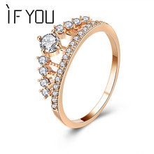IF YOU Fashion Crown Tiara Rings Rose Gold Color Crystal CZ Cubic Zirconia Finger Princess Queen Rings Wedding Engagement Gift