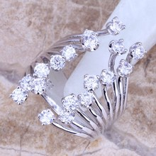 Gracious White CZ 925 Sterling Silver For Women Size 5 / 6 / 7 / 8 / 9 / 10 / 11 / 12 Fine Ring S0226(China)