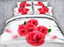 3d floral printed edding set queen size 4pcs duvet cover kids girls adult bedroom decor twin king full white gift bedlinen brief(China)