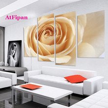 AtFipan Unframed Orange Rose Flower Painting Canvas Wall Spray Painting Modern Decor Canvas Art Work Prints On The Living Room