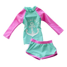 Baby Girls Swimming Suit Long Sleeve Two Piece Kids Toddler Beach Wear Swimwear Trunks with Swimming Cap(China)