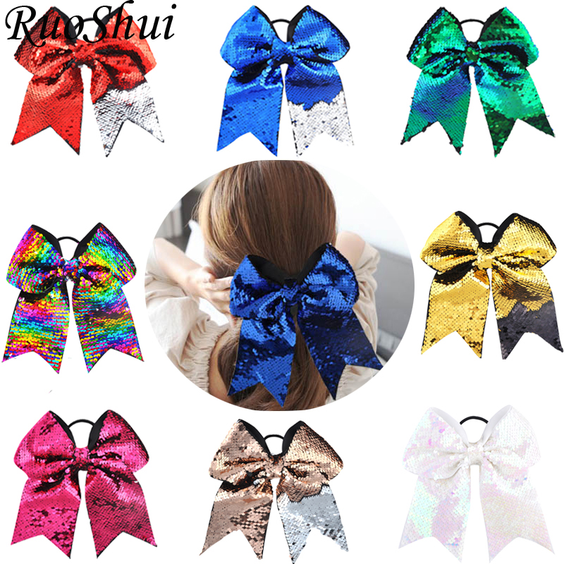 21 Color 8 Inch Large Girls Sequin Cheer Bows Elastic Bands Ribbon Cheer Bow