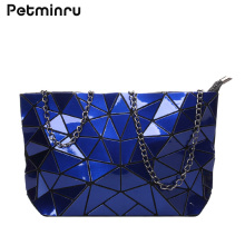 Petminru Geometric Pattern Handbag Chain Bag Casual Style Female Bag Fashion Shoulder Bag Wholesale White Red Wine Black