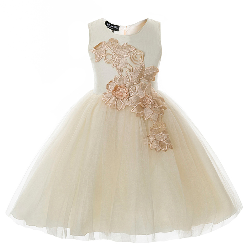 Girls Dress Mesh Baby Flower Ball Gown Appliques Children Wedding Party Dresses Fancy Formal Kids Evening Prom Frocks for Girl(China)