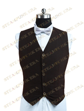Free Shipping  Halloween Costume Unique Coffee Tweed Single Breasted Victorian Steampunk Waistcoat