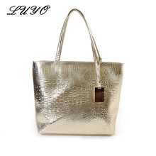 LUYO Crocodile Pattern Leather Fashion Large Capacity Casual Shopping Girls Shoulder Bag Gold Clutch Women Tote Bags Female(China)