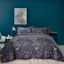 Queen Full Double Size Duvet Cover Set Red Blue Grey Leaves and Birds Printed Bed Duvet Cover Set 3 Pieces for Sale