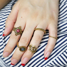 5Pcs Vintage Moon Ring Set Ethnic Hand Make Antique Boho Midi Finger Rings for Women Beads Anelli Leaf Circle Bijouterie RS1170