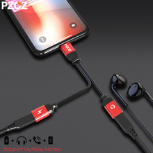 Buy pzoz 2 1 iphone 7 splitter cable lighting Jack Aux Audio Converter Headphone charger adapter iphone 8 plus x for $7.79 in AliExpress store