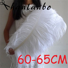 60 - 65cm 20pcs/lot 24- 26'' pure white soft and fuffly Ostrich Feather plumes home decor wedding decor table centerpiece(China)