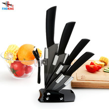 "High quality brand black blade kicthen ceramic knife set  3"" 4"" 5"" 6"" inch + peeler + Acrylic Holder/stand Chef Kitchen knife"