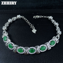 ZHHIRY Real Emerald Gem Bracelet Real 925 Sterling Silver Natural Gem Stone Women Jewellry Platinum Four Precious Stones(China)